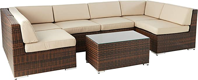 Amazon Com Ohana 7 Piece Outdoor Patio Furniture Sectional Conversation Set Mixed Brown Wicker With Sunbrella Antique Beige Cushions No Assembly With Free Patio Cover Garden Outdoor