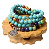 Turquoise,Mala Beads Tree of Life 7 Chakra