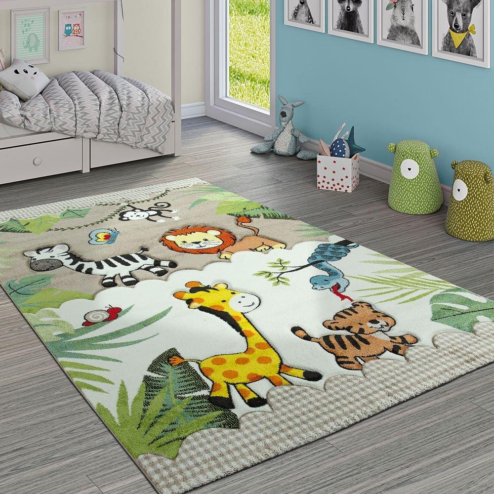 Paco Home Kinderteppich Kinderzimmer Dschungel Tiere Giraffe Löwe AFFE Zebra Beige Creme, Grösse:120x170 cm