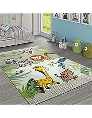 Paco Home Alfombra Infantil Animales Salvajes Crema Beige, tamaño:140x200 cm