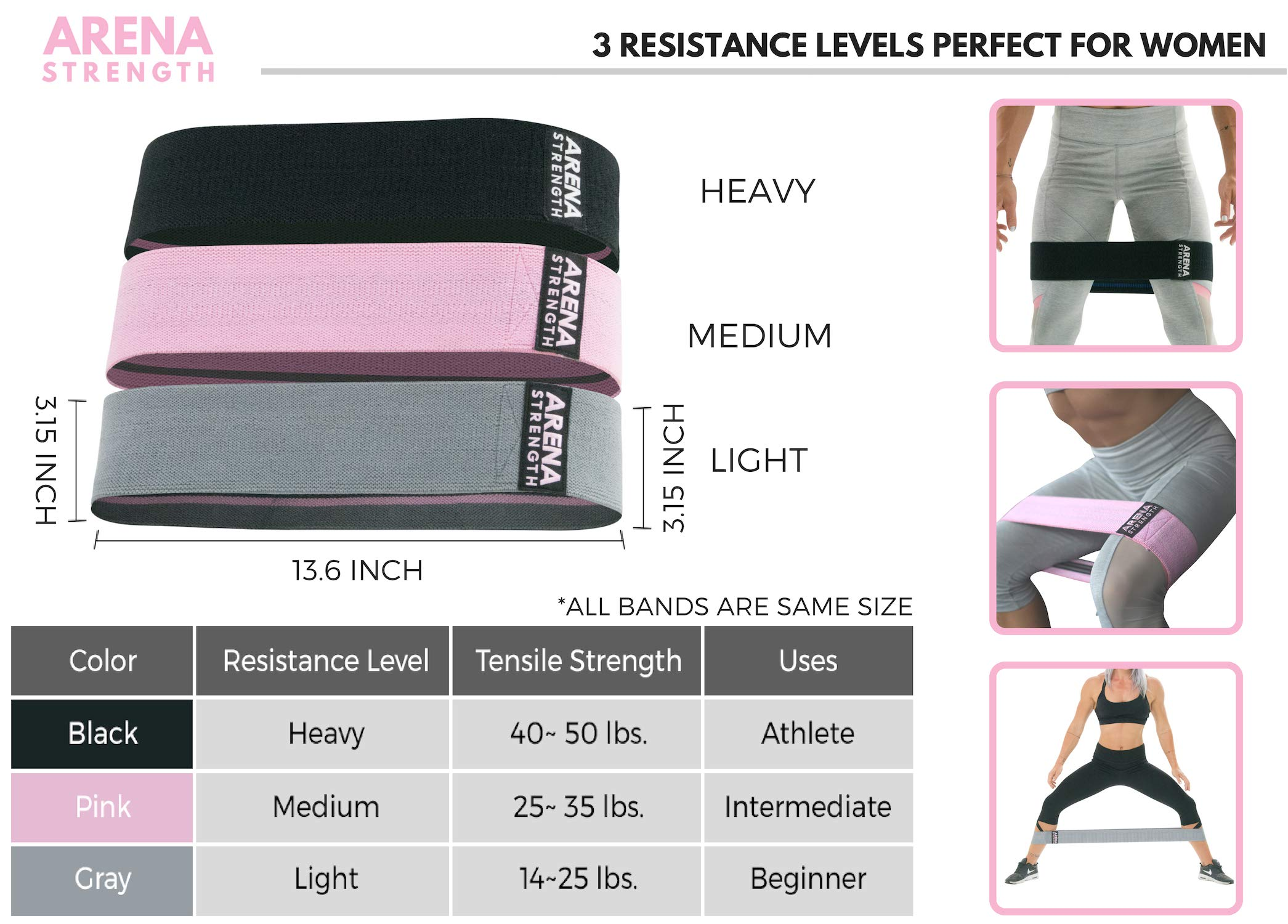 Arena Strength Booty Fabric Bands: Fabric Resistance Bands for Legs and Butt: 3 Pack Set. Perfect Workout Hip Band Resistance. Workout Program and Carry Case Included by Arena Strength (Image #4)