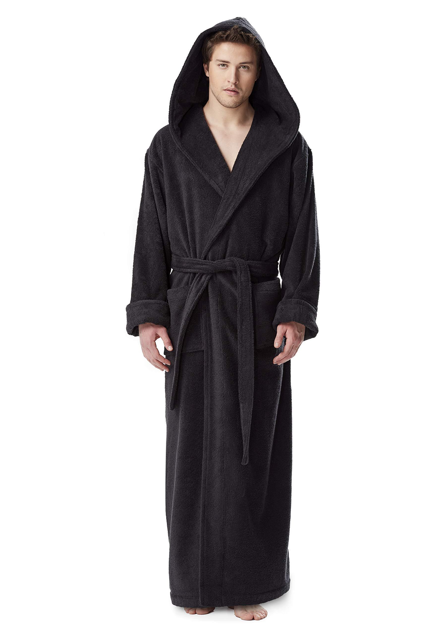 Arus Men's Hood'n Full Ankle Length Hooded Turkish Cotton Bathrobe Black Medium