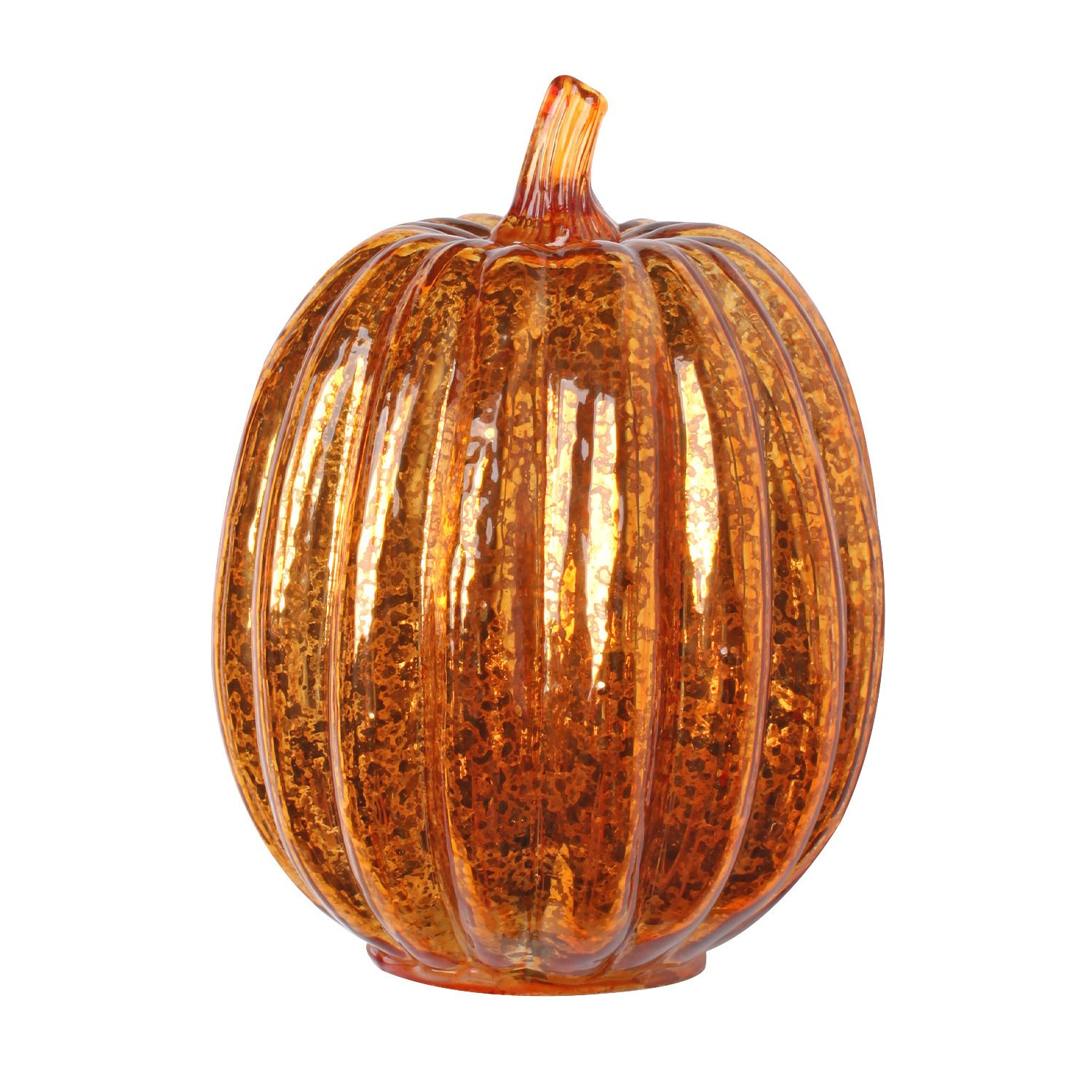 Romingo Mercury Glass Lighted Pumpkin with Timer for Fall Decor, Halloween Lantern, Orange, 7.5 inches