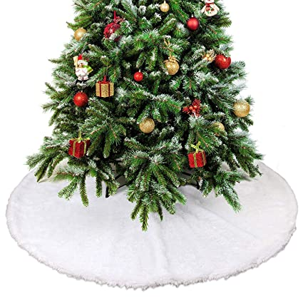 Rorchio 30inch//78cm Trees Skirts Plush Christmas Tree Skirt Snow White for Xmas Decoration Tree Decorations