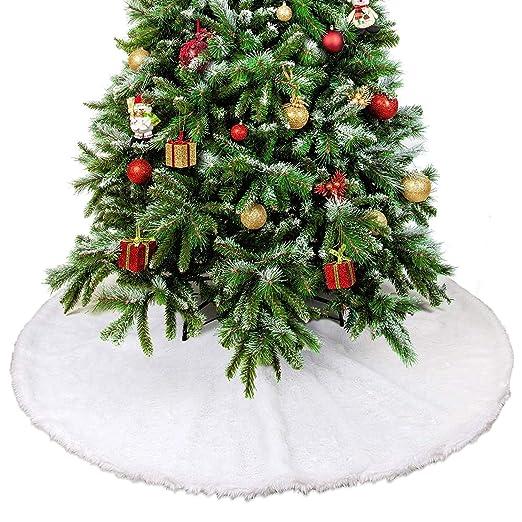 Falda de Árbol de Navidad, TERRA Snow White Fake Fur 90cm Diámetro ...