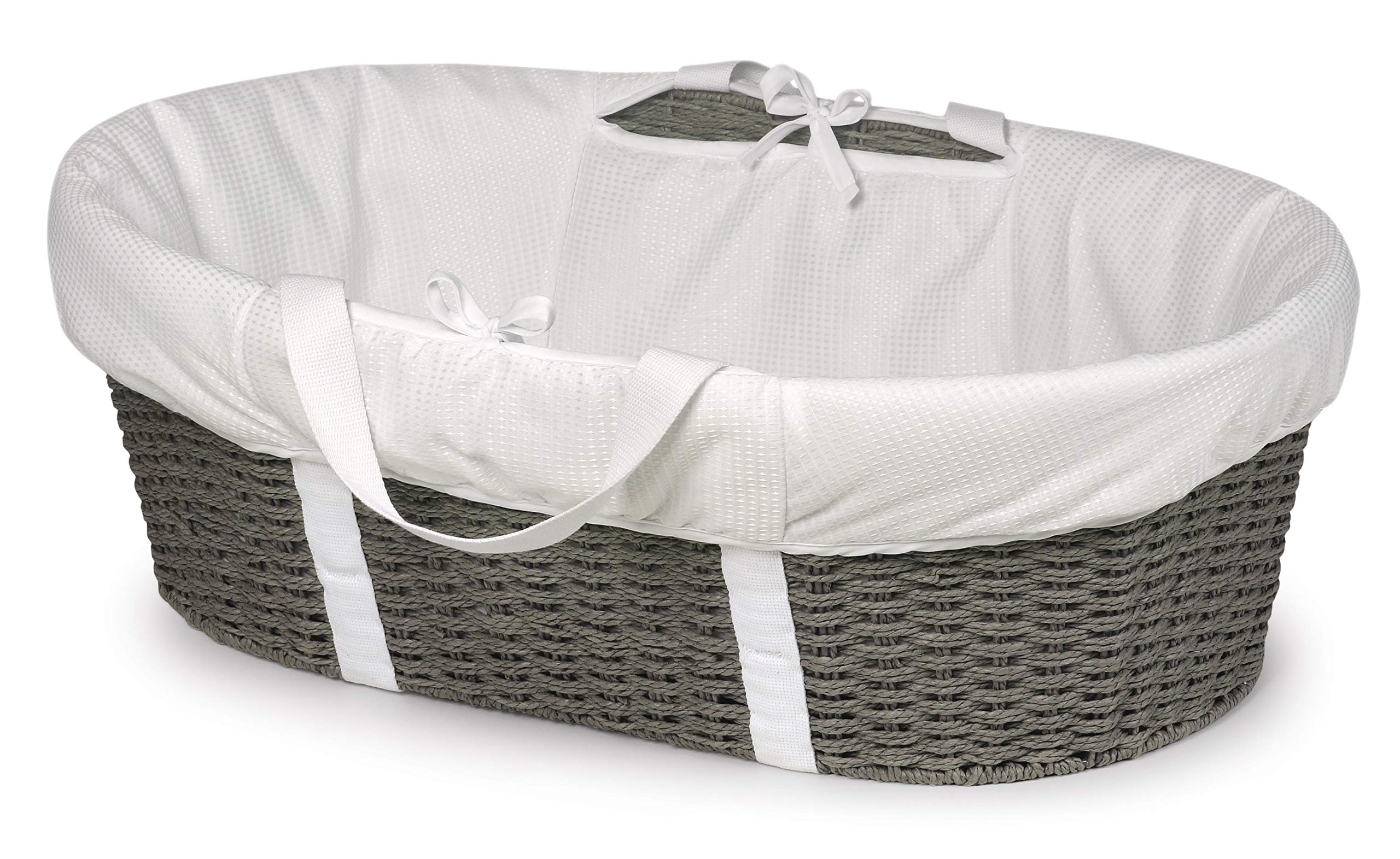 Badger Basket Wicker-Look Woven Baby Moses Basket with Bedding, Sheet, and Pad, Gray/White by Badger Basket