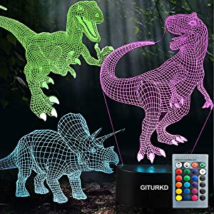 GITURKD Dinosaur Night Light - 3D Led Illusion Lamp Three Pattern and 16 Color Change Decor Lamp with Remote Control for Kids, Dinosaur Gifts for Children