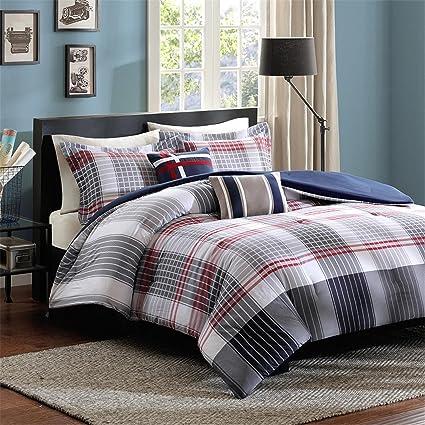 Amazon Com Den Comforter Set 4 Piece Plaid Bedding Soft