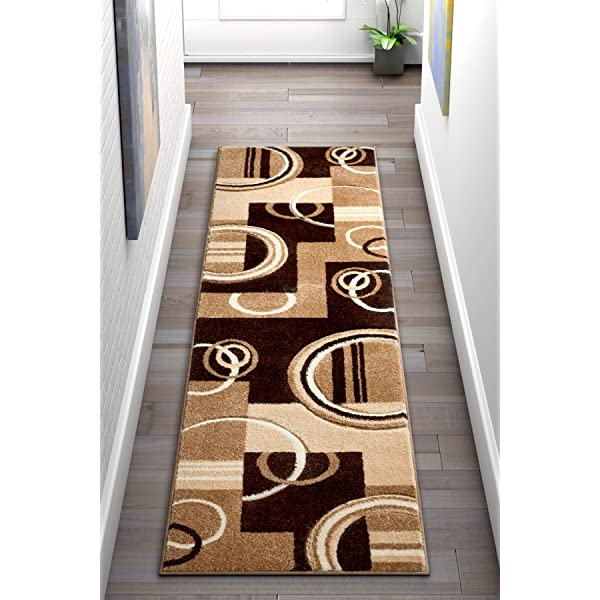 Amazon Com Galaxy Waves Ivory Brown Geometric Circles Ruby 20 X 7 Runner Well Woven Plush Area Rug 60012 Home Kitchen