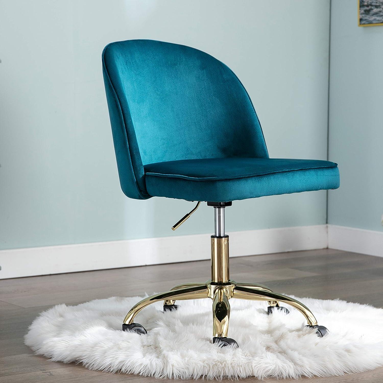 CIMOTA Armless Home Office Chair Upholstered Velvet Swivel Task Chair Adjustable Vanity Chair with Wheels Modern Desk Chair for Study (Dark Teal)