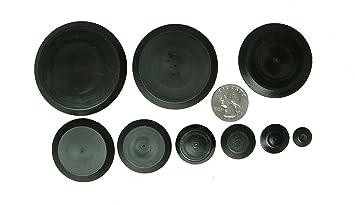 50 Piece Flush Mount Black Hole Plug Assortment for Auto Body and Sheet  Metal