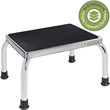 Medical Chrome Frame Foot Step Stool with Anti-Slip Rubber Platform for the Bedroom  sc 1 st  Amazon.com & Amazon.com: Medical Chrome Frame Foot Step Stool with Anti-Slip ... islam-shia.org