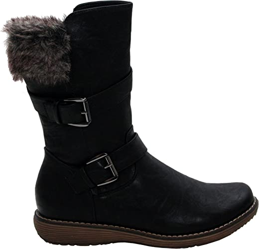 WOMENS LADIES MID CALF BUCKLE FLAT ZIP WORK OFFICE WINTER SHOES BOOTS SIZE 3-8