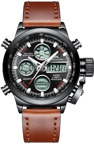 ... Calendario Fecha Electrónico Reloj Grandes de Pulsera de Analógico Cuarzo Casual Diseño con Correa de Cuero Genuino Marrón: Amazon.es: Relojes