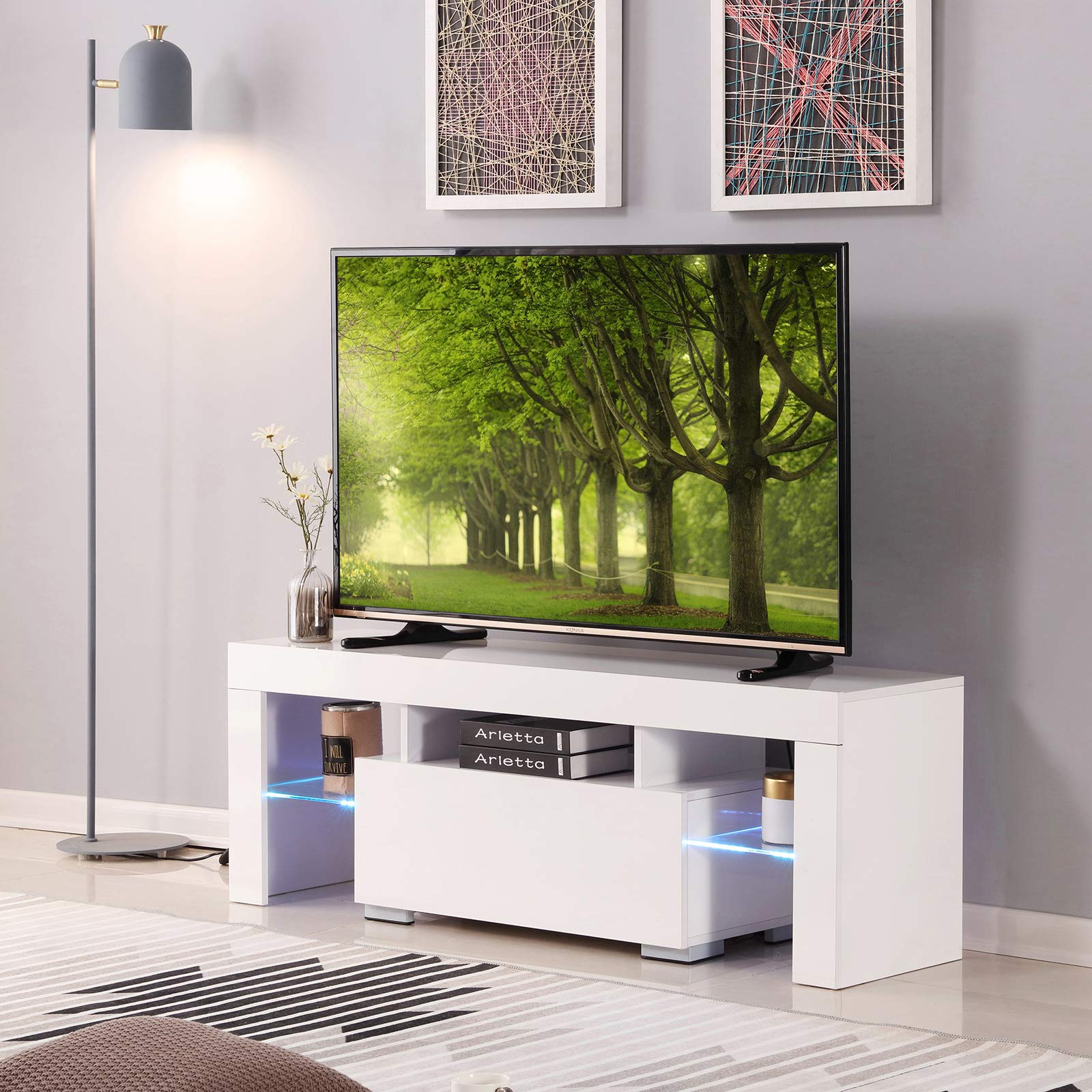 4-EVER 51'' TV Stand Cabinet LED Light Shelves Drawer Remote Control TV Stand Console Table Flat Screens High Gloss White