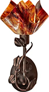 product image for Jezebel Signature BRSC-BBH-MA-FP12-BEG Flame Style Brown with Brown Highlights Branch Sconce with Magnolia Leaves, Begonia