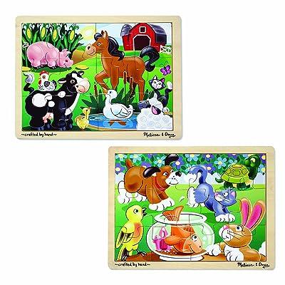 Melissa & Doug Animals Wooden Jigsaw Puzzles Set - Pets and Farm Life (12 pcs each): Melissa & Doug: Toys & Games