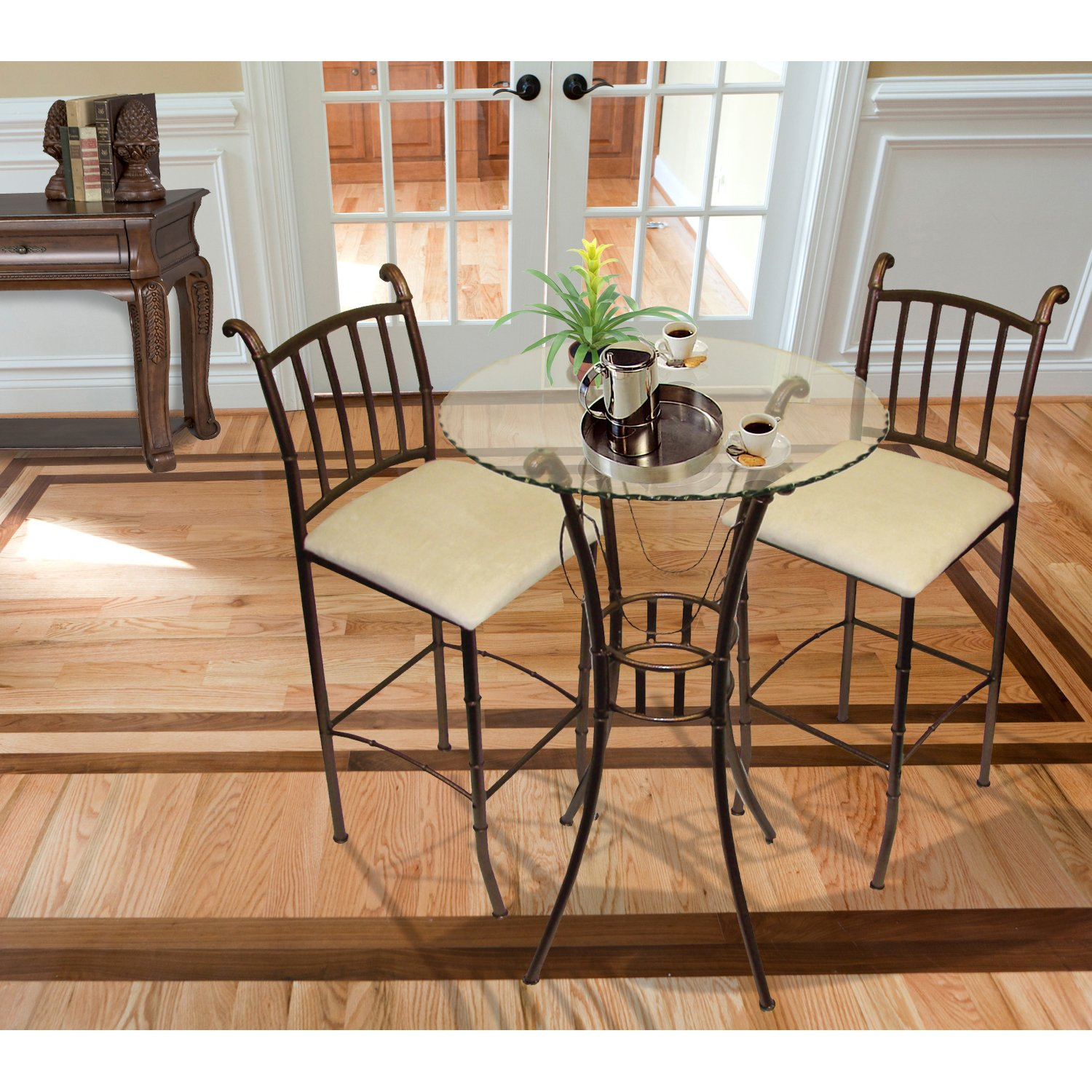Amazon.com: Home Source Industries Italian Bistro 3 Piece Pub Set With  Glass Table And 2 Stools: Kitchen U0026 Dining