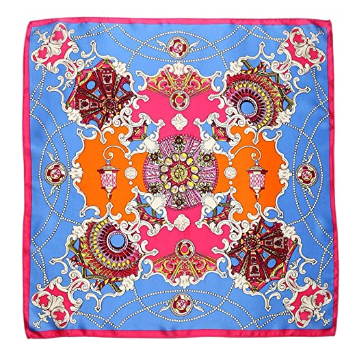 ee0652909d4c Only Faith 100% Mulberry Silk Palace Pattern Handkerchief Head Neck Wrap  Small Square Scarf (