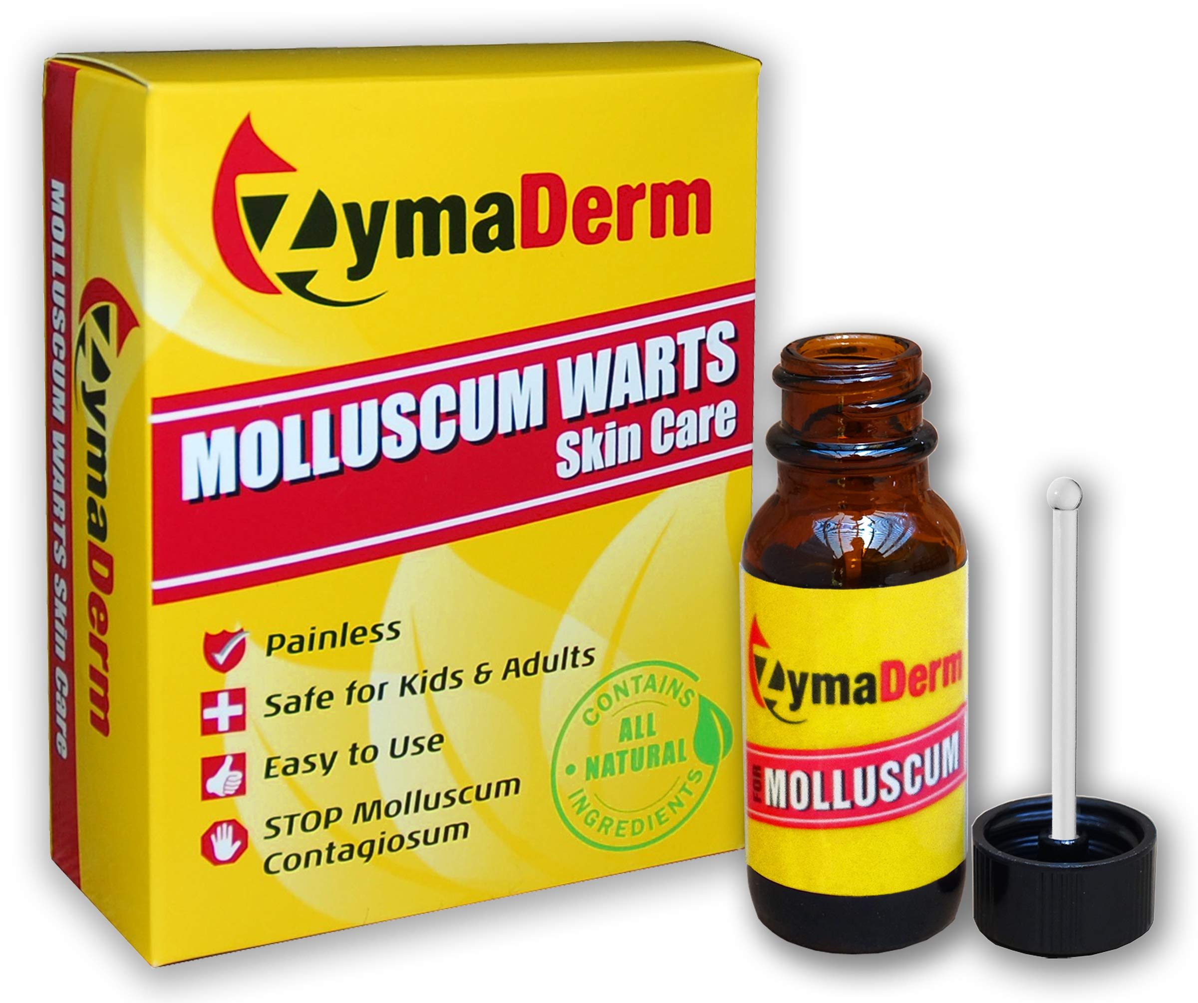 ZymaDerm Molluscum Warts Skin Care, Natural, Gentle, Painless, 13 ml