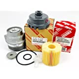 Genuine Toyota 04152-YZZA1 oil filter with Genuine Toyota 15620-31060 Oil Filter Housing Cap and 15643-31050 Cap Plug includes APSG Wrench and crush washer.