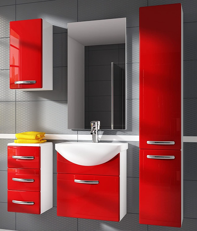 Rote Badmöbel bad möbel badezimmermöbel badmöbel set 6tlg rot lack amazon de