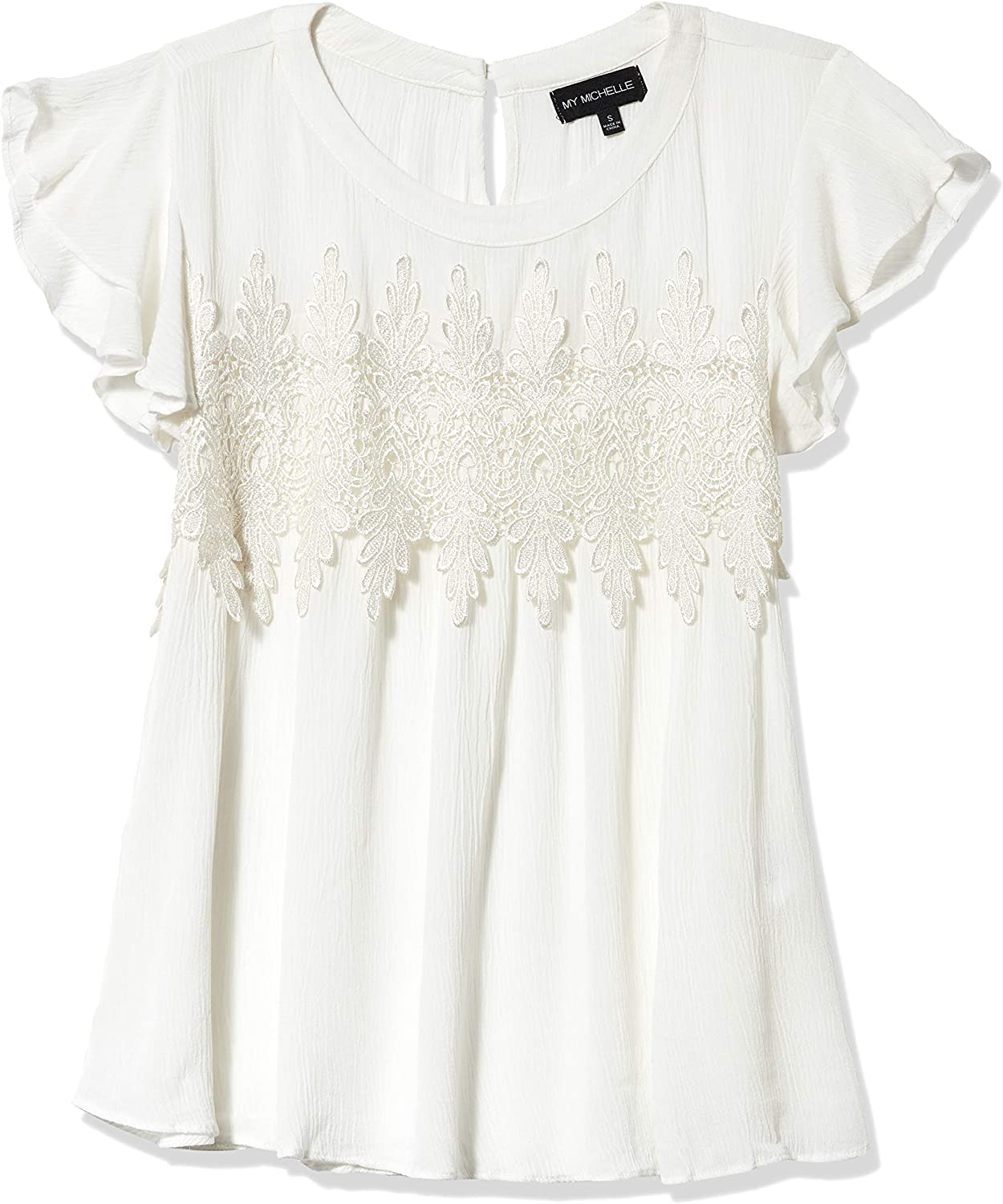 My Michelle Womens Flutter Sleeve Lace Detail Top