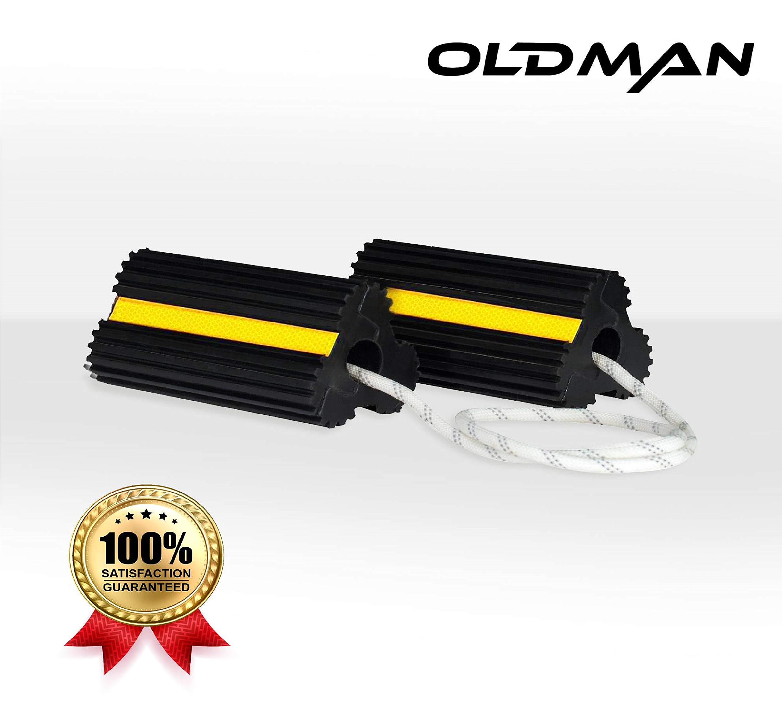 Oldman Rubber Wheel Chocks with Reflective Visibility | Personal or Commercial Use Rear Back Stop | Cars, Trailer, Aircraft, Construction Equipment | Non-Slip, Heavy Duty by Oldman