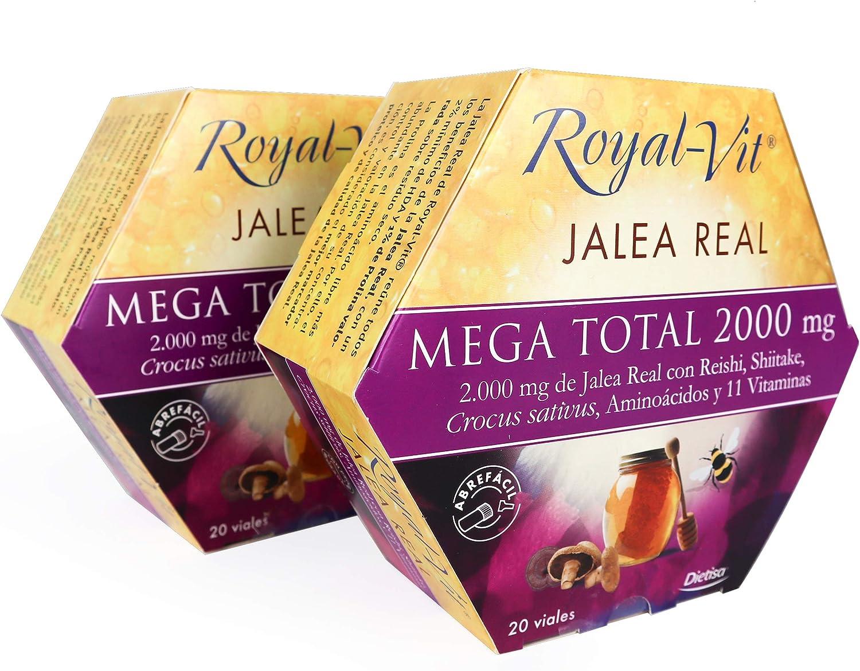 Royal-Vit - Jalea Real Mega Total de 2000 mg. Pack x 2 de 20 Viales de 10 ml de Dietisa - Contribuye a Disminuir la Fatiga y Reforzar el Sistema Inmunológico - Con Reishi, Aminoácidos y 11 Vitaminas