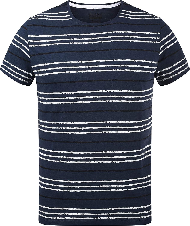 BLEND Valle Camiseta De Rayas Básica De Manga Corta para Hombre con Cuello Redondo De 100% algodón: Amazon.es: Ropa y accesorios