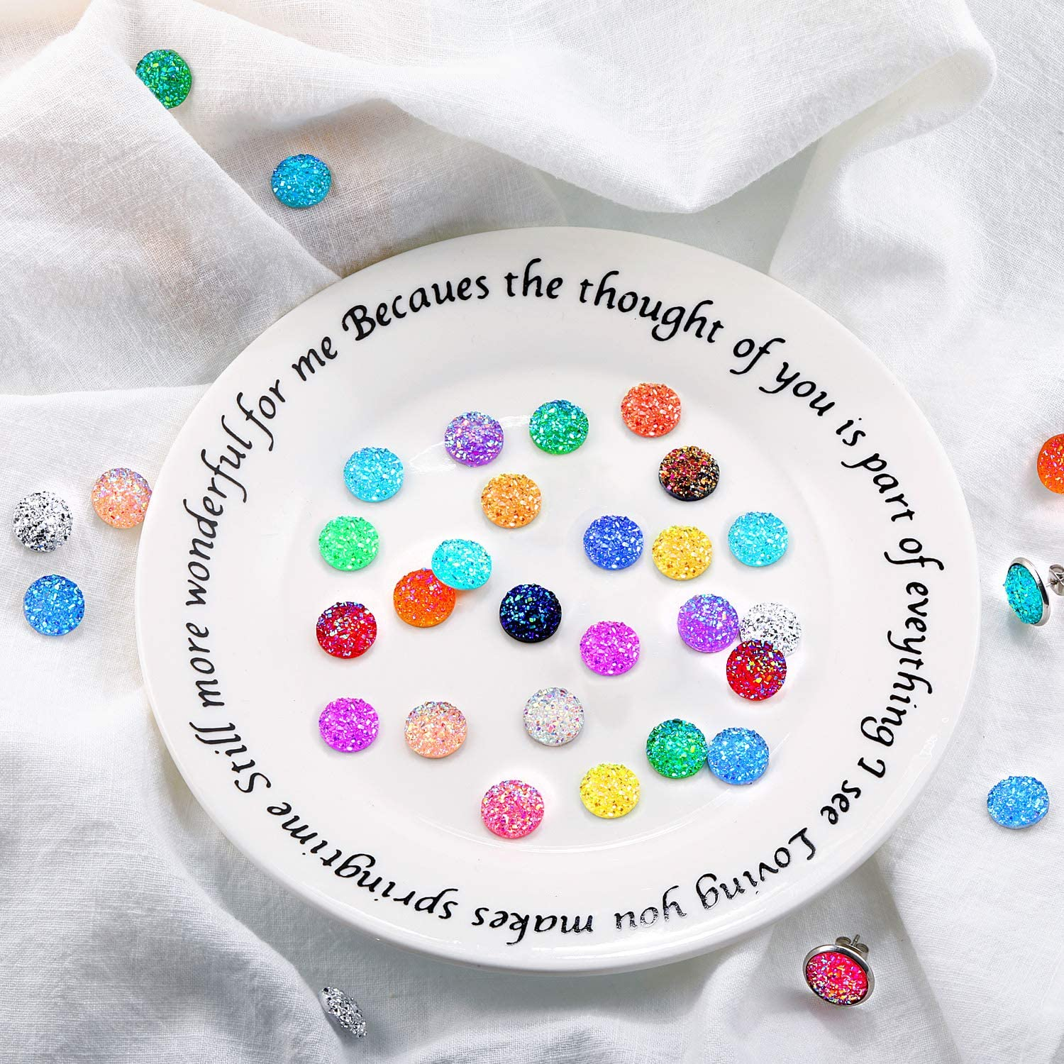 120 Pieces Druzy Resin Cabochons 20 Pieces Stainless Steel Earring Wire Hooks Blanks 2 Pieces Necklace Chains 10 Pieces Bracelet Bezel Trays with Open Jump Rings for Jewelry Making?12mm