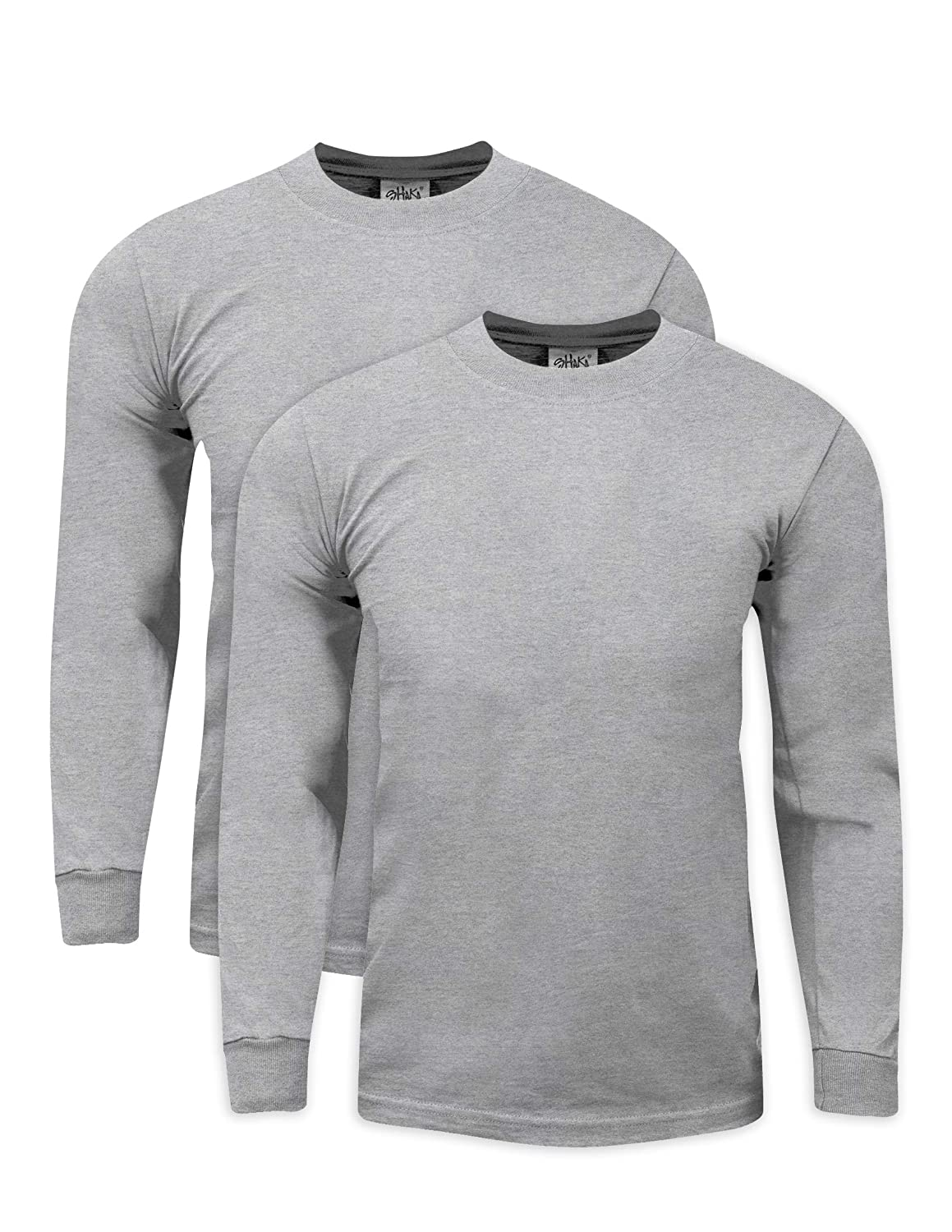 Shaka Wear 2Pack Men's Max Heavy Weight 7 oz Cotton Long Sleeve T-Shirt MHL_2PK