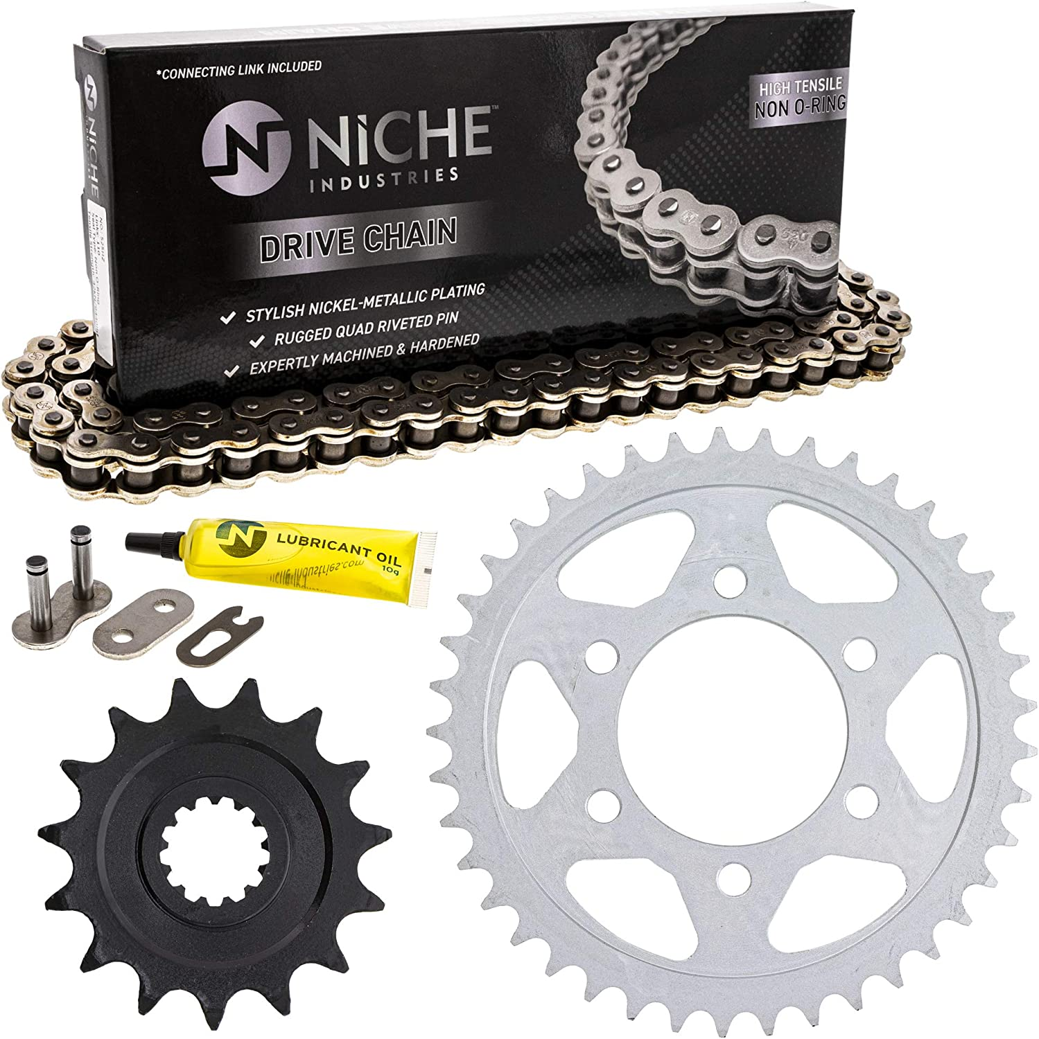 NICHE Drive Sprocket Chain Combo for Kawasaki Z1000SX Ninja 1000 ZX1000 Front 15 Rear 41 Tooth 525V O-Ring 112 Links