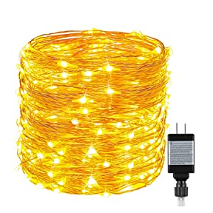 String Lights 33ft with 100 LEDs, Ruyilam Waterproof Outdoor & Indoor Decorative Lights for Bedroom, Garden, Patio, Parties, UL Power Supply Copper Wire Lights, Warm White