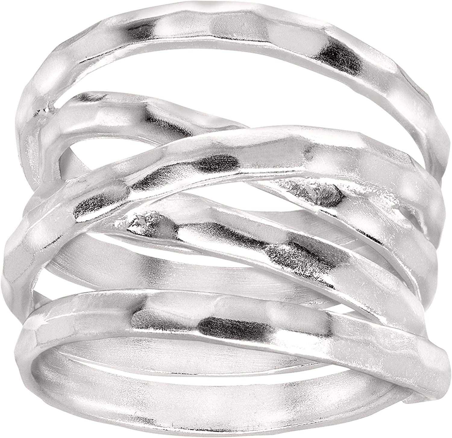 Silpada 'Wrapped Up' Overlapping Textured Wide Band Ring in Sterling Silver, Size 11