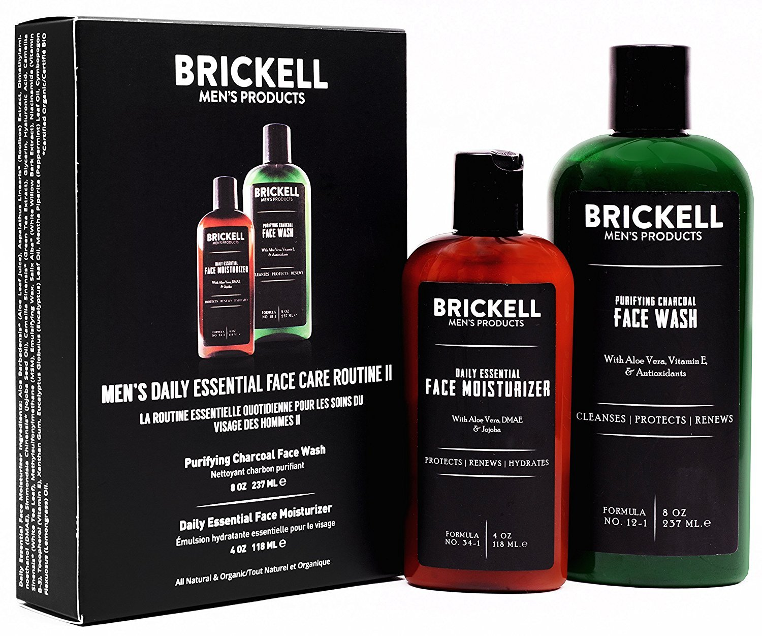 Brickell Men's Daily Essential Face Care Routine II, Purifying Charcoal Face Wash and Daily Essential Face Moisturizer, Natural and Organic, Scented