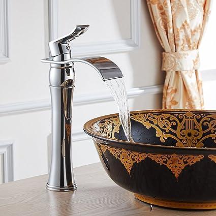 Acabado Cromo Cuarto de baño moderno de la manera alto del lavabo ...