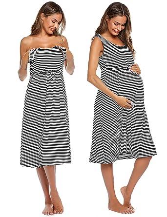 013cc09eb43 Ekouaer Women s Maternity Nuring Nightgown for Breastfeeding Dress  Sleepwear