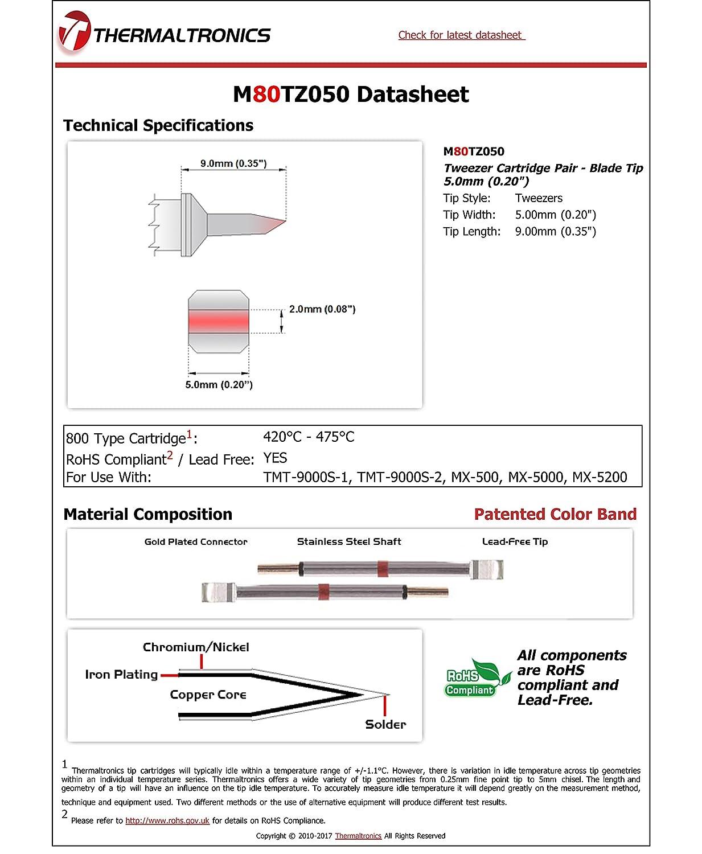 0.20 Blade Tip 5.0mm Thermaltronics M80TZ050 Tweezers Cartridge Pair