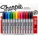Sharpie Permanent Markers, Brush Tip, Assorted, 12 Count - Pack of 2