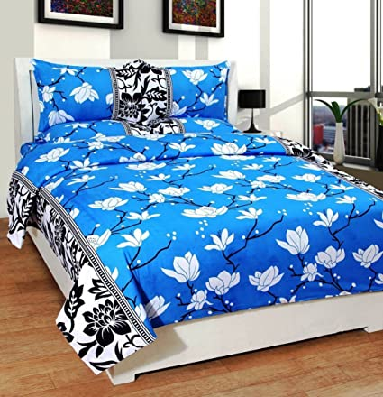 Homefab India 140 TC Polycotton Double Bedsheet with 2 Pillow Covers - Floral, Blue