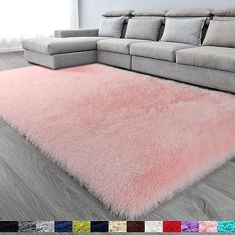 Pink Soft Area Rug For Bedroom 6x9 Fluffy Rugs Shag Rugs For Living Room Furry Rug For Girls Room Shaggy Rug For Kids Baby Room Fuzzy Rug For Nursery Dorm Large Rug Non Slip Rug Pink Carpet Home Decor Kitchen Dining
