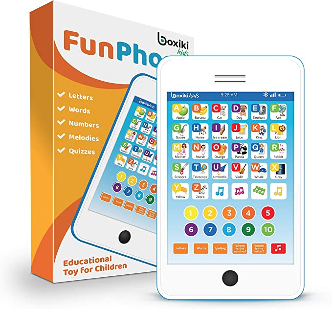 Learning Pad / Fun Phone with 6 Toddler Learning Games. Touch and Learn Interactive Tablet for Numbers, ABC and Words Learning. Educational Pretend Toy for Boys and Girls - 18 Months to 6 Year Old