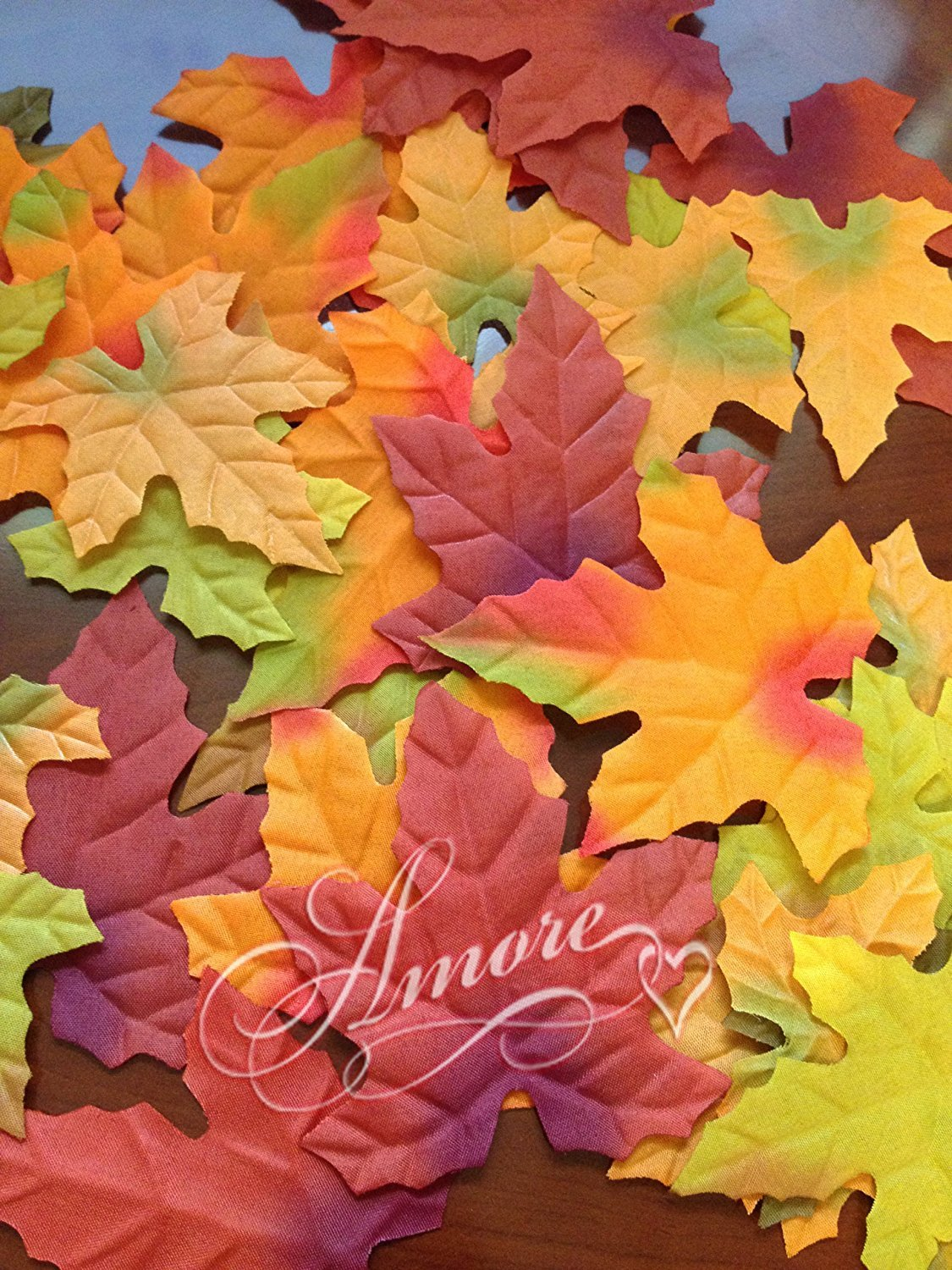 1000 Thanksgiving Halloween Wedding Artificial Fall Maple Autumn Leaves Mix Color Sizes Great Table Scatters