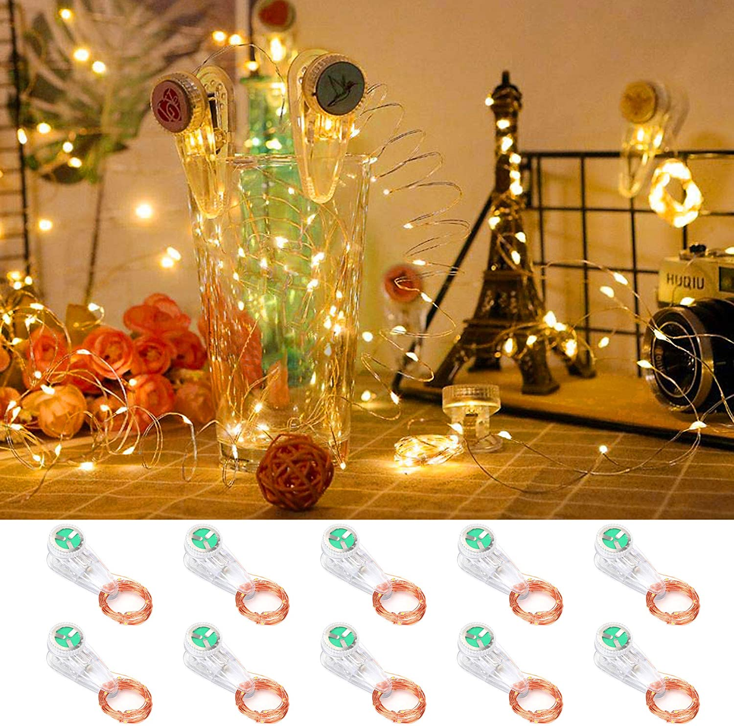 LED String Lights Fairy Wire Mini Lights Battery Operated DIY Bar Starry Wedding Home Party Valentine Home Decor ,10-Pack,20LEDS 6.56ft,Warm White (Clamp String Light, Warm White)