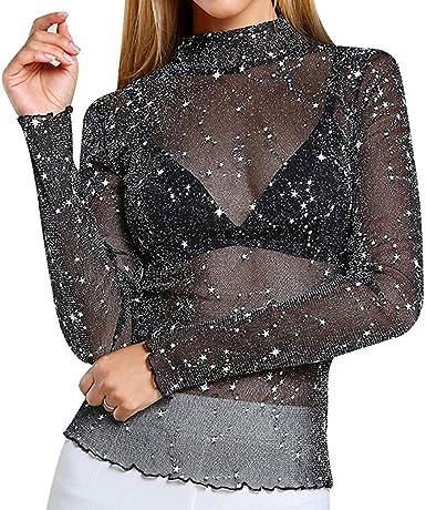 Primavera Camiseta para Mujer, Sexy Mesh Brillante Bodycon Blusa Collar Alto Manga Larga Color Sólido Camisa Básica Delgado Casual T-Shirt Tops S-3XL: Amazon.es: Ropa y accesorios