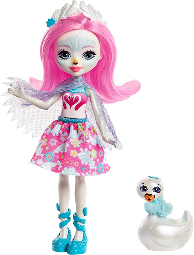 Enchantimals FRH38 Saffi Swan Doll and Poise Figure, Multi-Colour,Mattel,FRH38,Zabawki