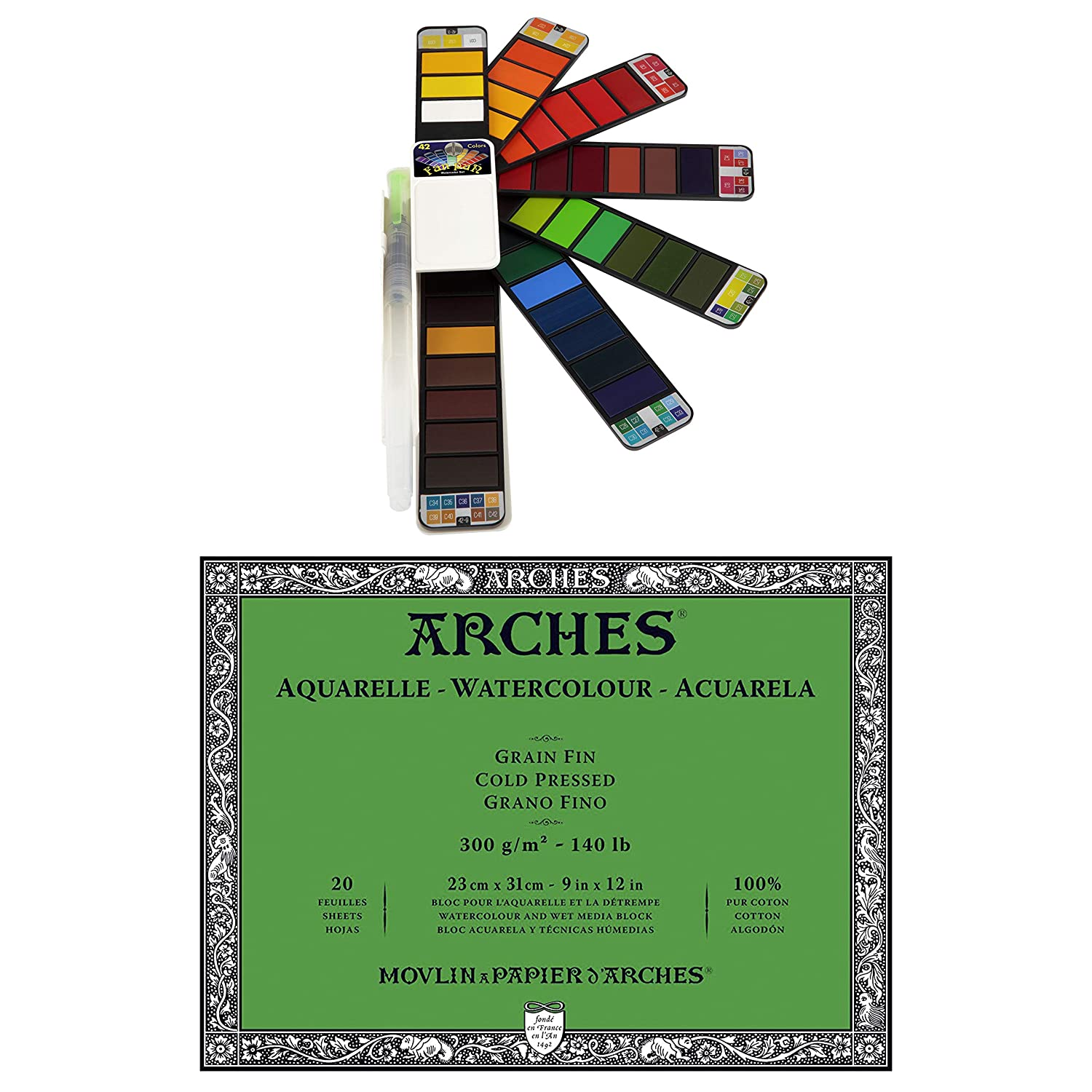 Arches 140lb Cold Press Block 9 x 12 w// Fan-PAN Watercolor Paint Set 42 Colors