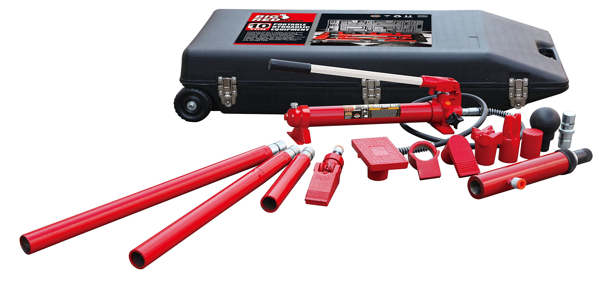 Torin Big Red Portable Hydraulic Ram: Auto Body Frame Repair Kit with Rolling Case, 10 Ton Capacity