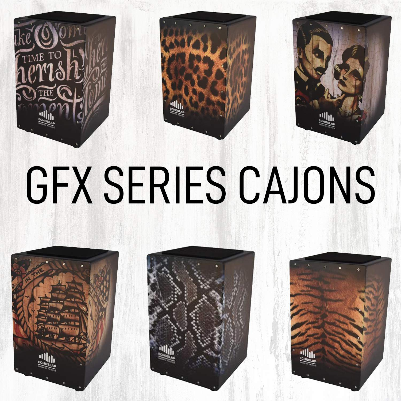 echoslap GFX Liebhaber Cajon, schwarz, handgefertigt, einstellbarer ...